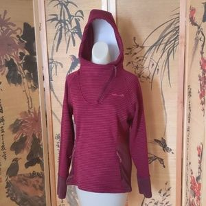 Avalanche EUC hooded asymmetrical zip up maoon